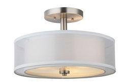 Hardware House El Dorado Semi Flush Ceiling Fixture, Satin Nickel