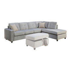 Acme Furniture - Belville Reversible Sectional Sofa With Pillows Velvet Gray - Sectional Sofas  sc 1 st  Houzz : gray velvet sectional sofa - Sectionals, Sofas & Couches