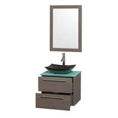 "Amare 24"" Single Bathroom Vanity, Gray Oak, Green Glass Top, Sink and 24"" Mirror"