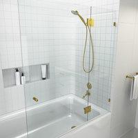 """Frameless Glass Bath Tub Shower Door, Glass Hung, Satin Brass 58""""x51"""""""