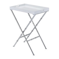 Acme Lajos Tray Table, White and Chrome