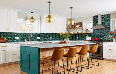 Kitchen of the Week: Backsplash Dazzles in Green Geometric Tile