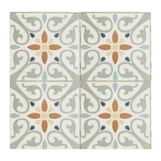 Maioliche Clair Orange and Yellow Terracotta Tiles, Set of 4