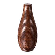 "Villacera Handmade 14"" Tall Bottle Mango Wood Brown Round Ripple Vase"