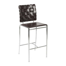 Eurostyle Eurostyle Carina C Leather Counter Chairs With Chromed Base Brown Set