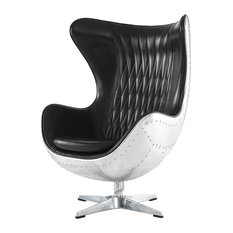 Sofamania   Real Leather Swivel Egg Chair, Reclining Tilt Lock Mechanism,  Black
