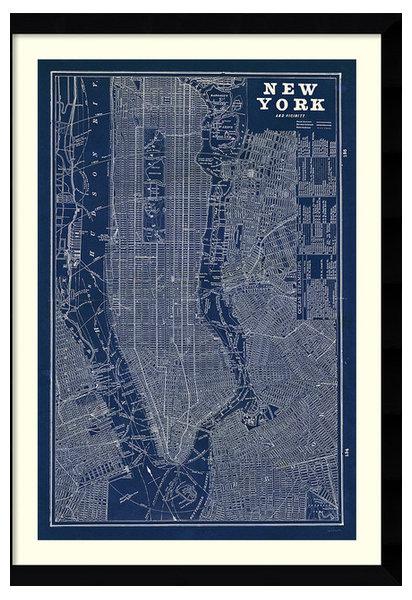Susan schlabach blueprint map new york framed art print 30x42 susan schlabach blueprint map new york framed art print malvernweather Image collections