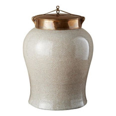 Jar Large Off-White Crackle Colors May Vary