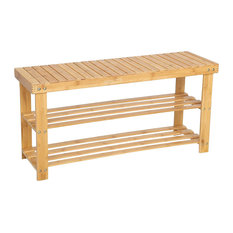 Traditional Shoe Storage Rack, Natural Finish Bamboo Wood With 3 Open Shelves