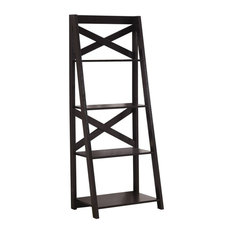 Monarch 4 Shelf 24-inch Modern Sturdy Wooden Ladder Bookcase In Espresso