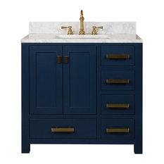 "Madison 36"" Carrara White Marble Vanity, Monarch Blue"