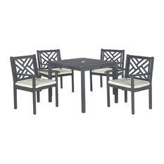 Safavieh Bradbury 5-Piece Outdoor Dining Set, Ash Gray