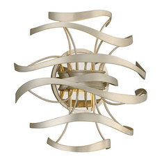 Corbett Calligraphy 2-Light Wall Sconce, Silver Leaf/Polished Stainless Accents