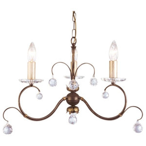 Traditional Bronze 3-Arm Chandelier, Cut Crystal Glass