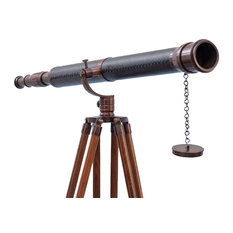 """Floor Standing Antique Copper With Leather Galileo Telescope, 65"""""""