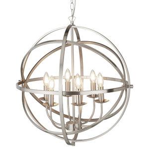 Orbit 6-Light Cage Frame Orb Pendant, Satin Silver