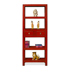Elmwood Chinese Zen Bookcase, Distressed Red