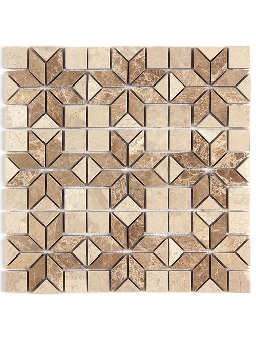 Light Emperador Marble Tile Mosaic Moulding And Border