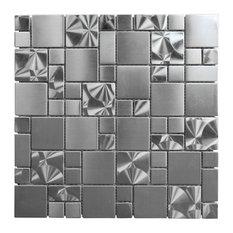 "11.75""x11.75"" Silver Swirl Stainless Steel Metal Mosaic Tile, Full Sheet"