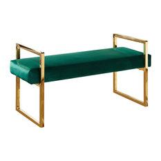 bedroom benches. Meridian Furniture  Olivia Velvet Bench Green Upholstered Benches Bedroom Houzz
