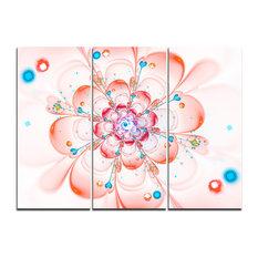 """""""Pink Fractal Flower Petals Close-up"""" Wall Art Print, 3 Panels, 36""""x28"""""""