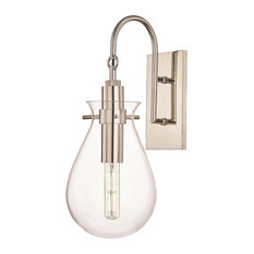 Ivy LED Wall Sconce With Clear Glass Shade, Polished Nickel