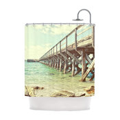 "Debbra Obertanec ""On the Pier"" Beach Shower Curtain"