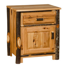 Rustic Hickory Night Stand 1-Drawer And 1 Door All Hickory