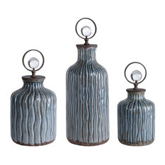 Uttermost 18633 Mathias Set of Three Crystal and Metal Decorative Bottles
