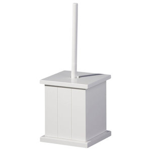 American Cottage Wooden Holder Box and Toilet Brush, White