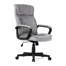 Belleze - Executive Padded Microfiber Office Chair With Lumbar Support, Gray - Office Chairs
