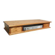 The Oak Furniture Shop   Flat Screen Oak TV Riser With Drawers, Golden Oak