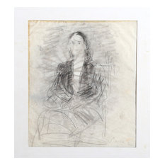 """Dimitrie Berea """"Portrait Of A Woman, 1"""" Charcoal Drawing"""