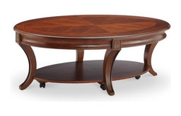 Magnussen Winslet Oval Coffee Table with Casters in Cherry