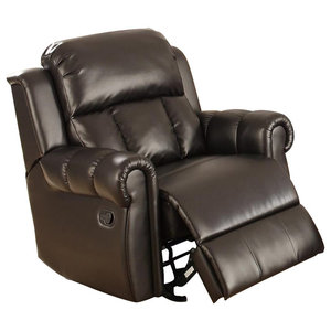 Gdf Studio Harbor Brown Leather Glider Recliner Club Chair