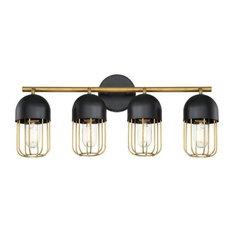 Eurofase Palmerston, Four Light Bath Vanity, Black/Gold Finish