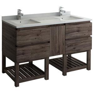 """Formosa 60"""" Open Bottom 2 Sink Cabinets, FCB31-241224ACA-FS-CWH-U"""