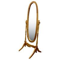 Natural Wooden Cheval Floor Mirror