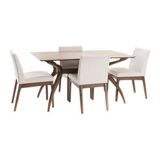 GDFStudio - Katherine Natural Wood Finish Curved Leg Rectangular 5 Piece Dining Set, Walnut - Dining Sets