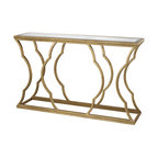 Console Table 2pcs Glossy White With Chrome Metal