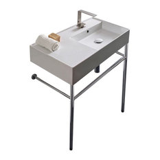 "32"" Ceramic Console Sink and Polished Chrome Stand, 1-Hole"