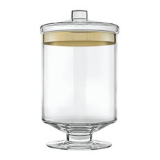Clear and Gold Glass Container, Long