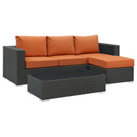 Modway Sojourn 3 Piece Outdoor Patio Sunbrella Sectional Set