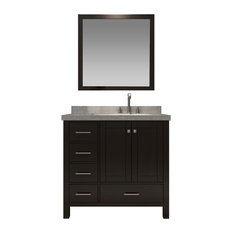 "Ariel Cambridge 37"" Single Right Sink Vanity Set, Espresso"