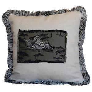 Zebra Applique Pillow, Natural