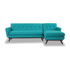 Kardiel - Kardiel Jackie Mid-Century Modern Sectional Sofa, Turquoise, Material: Cashmere, - Sectional Sofas