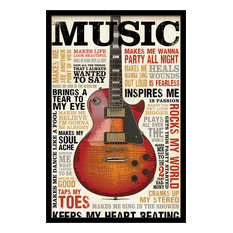Guitar Heritage  by MJ Lew Eclectic Poster Print 24X36