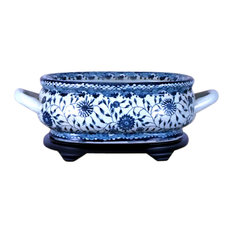 Unique Blue and White Porcelain Foot Bath Basin Chinese Floral Motif With Base