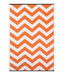 Psychedelia Indoor/Outdoor Rug, Orange and White, 150x240 cm