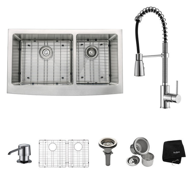 Kraus Usa Inc farmhouse stainless steel kitchen sink faucet and soap